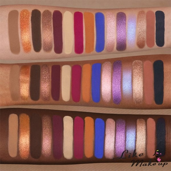 Swatches Poison Palette Nabla Cosmetics